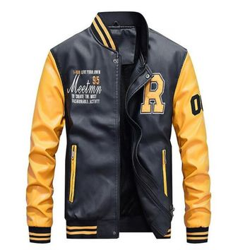 Mens Baseball Faux Leather Jacket in Yellow