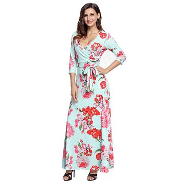 Turquoise Floral Print Wrapped Long Boho Dress