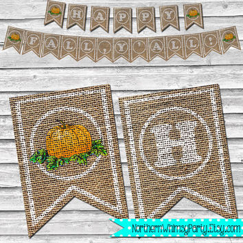 Burlap Happy Fall Y'all Banner – DIY Printable Home Decor –  Autumn Pumpkin Decoration – Southern Fall Banner - INSTANT DOWNLOAD