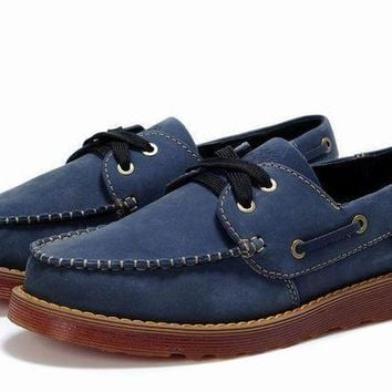 Men's Timberland 2-Eyes Leather and Suede Boat Navy Shoes