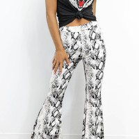 Another Wave White Python High Waist Flare Pants