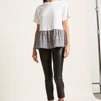 Plaid Ruffle Combo Top