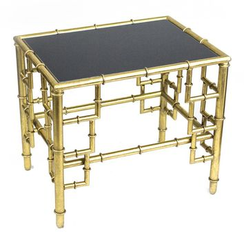 Bamboo Side Table table, Gold/Black - SageBrook Home