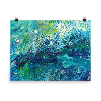 Art print abstract painting, turquoise painting, art poster, abstract print, Abstract Wall Art, fluid painting, colorful art,fluid art