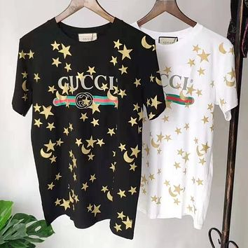 GUCCI Summer Trending Women Cute Star Print Round Collar T-Shirt Top