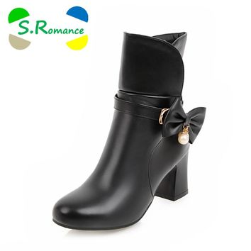 S.Romance Women Ankle Boots Plus Size 34-43 High Square Heel Slip-On Round Toe Classic Fashion Woman Shoes Black White SB1118