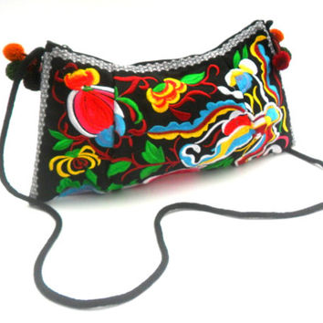 Ethnic Hill Tribe Bohemian Bag Embroidered Cross body Shoulder Bag Black Flower Bag Hippie Handmade Handbags Boho Hobo purse Bag  Gift Bags