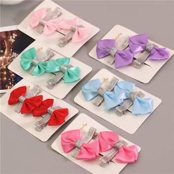 satin ribbon bows baby kids hair clips pin headwear hairpin accessories for children hair bow ornaments hairclip headdress ST-60