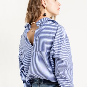 Ring Back Striped Sleeve Tie Shirt