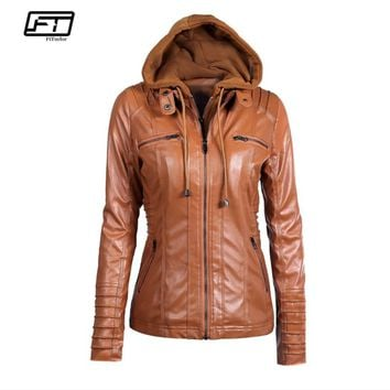 Fitaylor New Women Winter Hooded Faux Leather Jacket Slim Motorcycle Hat Detachable Plus Size 5xl Pu Leather Coat