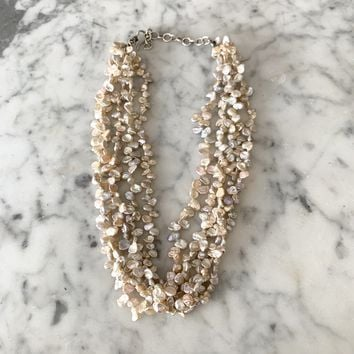 Vintage freshwater pearl multi strand necklace