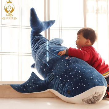 Humpback whale shark plush toy big whale doll home cushions cartoon shark blue whale children pillow stuffed animals