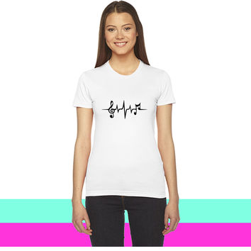 Heart Rate Pulse Music Note Clef Electro Classic women T-shirt