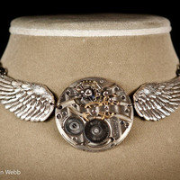 Steampunk Necklace with pocket watch movement as worn by Cristina Scabbia of Lacuna Coil during Gigantour