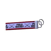 Girls Field Hockey Wristlet Keychain- Orange