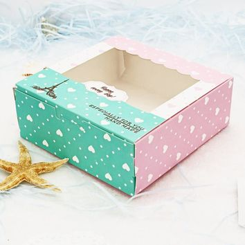 30PCS Printed Baking Paper Boxes Window Christmas Cookie Boxes Chocolate Macaron Mooncake Packaging