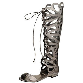 SOLO15W GUN METAL LASER CUT OUT LACE UP BOOT