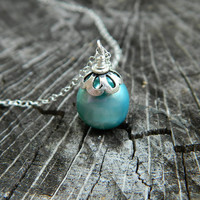 Blue Pearl Necklace Sterling Silver