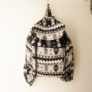 ethnic rucksack, hipster backpack, aztec school bag, tribal backpack, hippie backpack, native american bag,nepali shoulder bag,black white