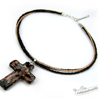 Black Cross necklace black choker christian necklace catholic gift lampwork necklace glass jewelry black necklace glass pendant murano glass