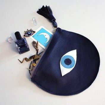 Evil Eye // All Seeing Eye// Navy Blue Leather Clutch Purse // Navy Leather Iridescent And Blue Accents // Eye Of Fatima