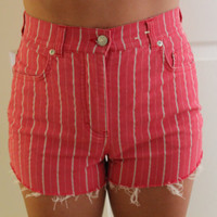 striped cut off high waist shorts by p4pministry on Etsy