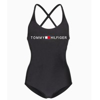 Tommy Hilfiger fashion new simple slim printed one-piece swimsuit Black