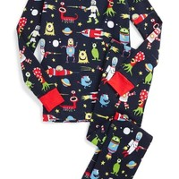 Hatley Space Aliens Organic Cotton Fitted Two-Piece Pajamas (Toddler Boys, Little Boys & Big Boys) | Nordstrom