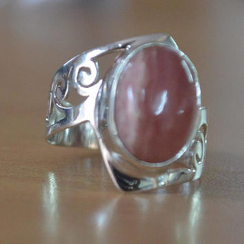 Rhodochrosite Gemstone 925 Sterling Silver Ring,Rhodochrosite Natural Gemstone Silver Ring,Pink Rhodochrosite Stone ring gift for her Rings