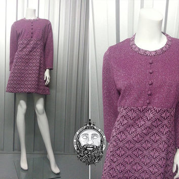Vintage 60s Mod Dress Purple and Silver Lurex Carnegie Long Sleeve 1960s Mini Empire Line Shift Dress Scooter Girl Metallic Lame Disco Dress