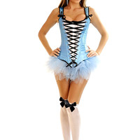 Blue 4 PC Sexy Alice Costume