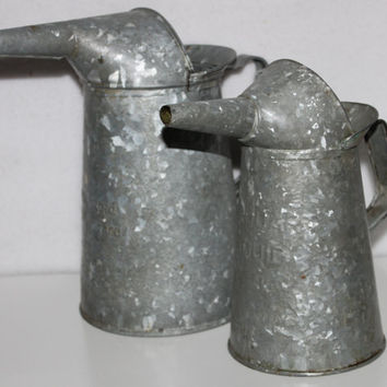 Vintage Pair of American Standard Galvanized Oil Cans