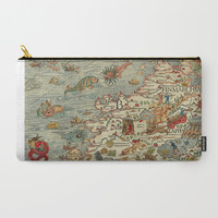 Medieval Map Scandinavia 1539 Carry-All Pouch by digitaleffects