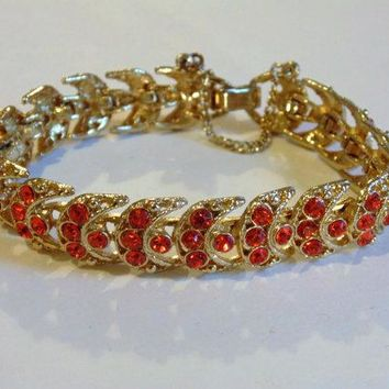 WEISS Crescent Moon Orange Rhinestone Bracelet Victorian Revival Vintage Jewelry WINTER SALE
