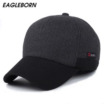 Trendy Winter Jacket Sport winter hats patchwork men baseball caps ear flaps winter thicken hats high quality snapback cap hats sport Logo 5 AT_92_12