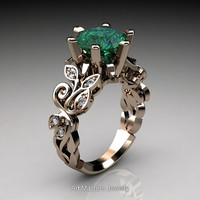 Nature Inspired 14K Rose Gold 3.0 Ct Emerald Diamond Leaf and Vine Crown Solitaire Ring RD101-14KRGDEM