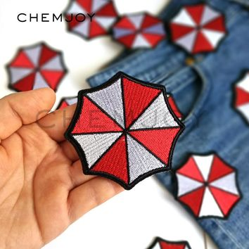Embroidery Umbrella Corporation Patch Iron on Resident Evil Biker Patch Clothes Stickers T-shirts Applique Clothes Decoration