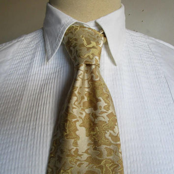 Vintage 90s Christian Lacroix Necktie Gold Silk Abstract Brocade Necktie 1990s Designer Mens Neckwear