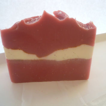 Soap Handmade Strawberries and Rhubarb Cold Process Coco Butter Coconut Milk
