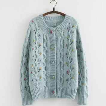 Crochet Knit Floral Button Down Cardigan in Blue or White