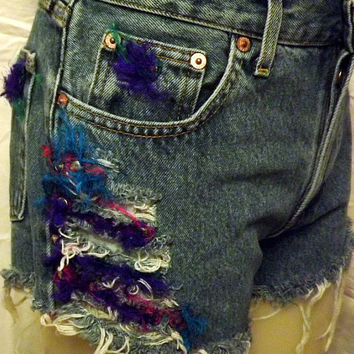 Tribal Distressed Frayed Button Fly Denim Cut by twazzy on Etsy