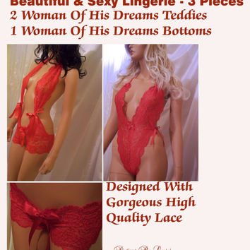 3 Beautiful Pieces of Lingerie, Sexy Teddies  & Bottoms, Baby Doll, Sexy Nighties Panties, Sexy Pretty Intimates, Valentine's Day Lingerie