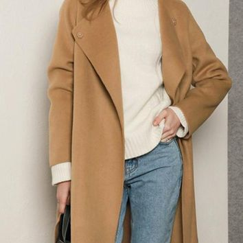 Camel Pockets Buttons Band Collar Long Sleeve Wool Coat