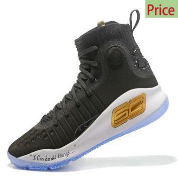 How To Buy 2018 Stephen Under Armour Curry 4 Mid Mens Basketball Shoes Coal Black White Gold sneaker