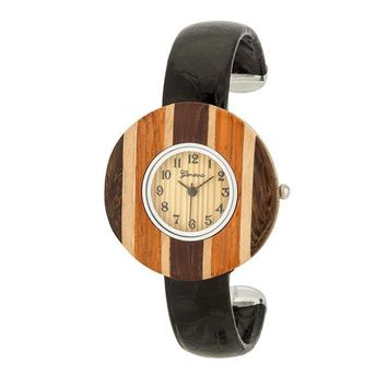 Brenna Wood Inspired Leather Cuff Watch - Black & 2 more colors