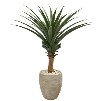 Artificial Plant -Agave Desert Plant with Sand Colored Planter