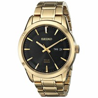 Seiko SNE368 Men's Core Solar Black Dial Yellow Gold Steel Bracelet Power Reserve Watch