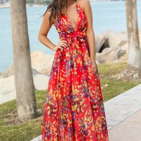 Red Printed Maxi Dress with Criss Cross Back