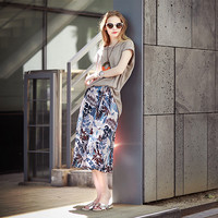 Gray Cuffed Sleeve Shirt And Floral Culotte Pants