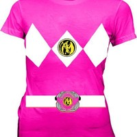 Power Rangers Pink Costume Juniors Fuschia T-shirt Tee
